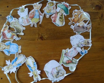 Peter Rabbit characters style bunting, Beatrix Potter.