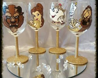 Handpainted beauty and the beast wine glass set