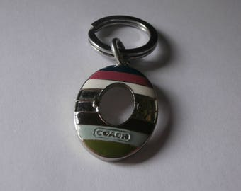 "Vintage coach designer colorful strip key chain silver tones 2"" long"