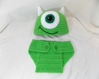 Mike  monster  hat and Diaper Cover  Available in Newborn to 24 Month Size- MADE TO ORDER