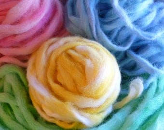 Hand Dyed Alpaca Roving; 2 oz balls in four spring colors: Yellow, Green, Blue, Pink