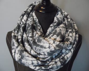 ITY KNIT.Boho Floral Grey.White.Infinity Scarf. Circle Scarf.Gift.Her.Daughter.Sister.Teacher.Product ID#SC0060