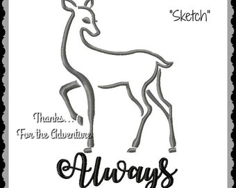 Silver Doe Patronus Always Harry Potter Digital Embroidery Machine Sketch Design File 5x7 6x10 8x12