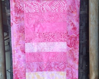 Pink batik table runner