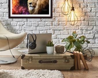LION ART PRINT, wildlife art, animal art, lion decor, wildlife art print, modern animal art print, lion wall art, lion print, digital art