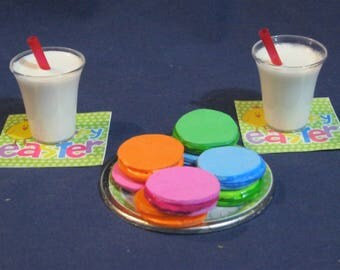 EASTER macaroons / 2 glasses of milk / plate / napkins for 18 inch Doll/American Girl doll.  18 inch doll food  18 inch doll accessories
