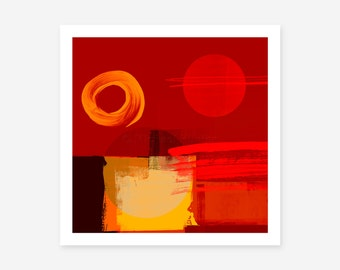 Red Abstract Art Print - modern home decor, contemporary art prints, large size prints, square abstracts, original digital prints
