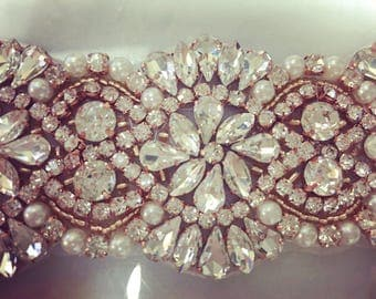 Pearl Rosegold  clear rhineston iron/sew on trim/ rosegold bridal trim/ iron on bridal trim