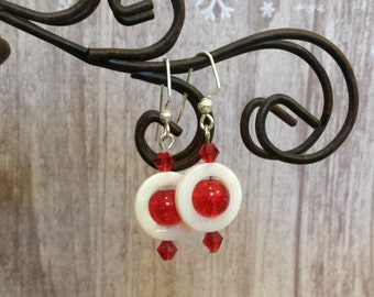 Unique Red and white beaded earrings,gifts for her,Red & White Earrings,Free Shipping, friend gifts