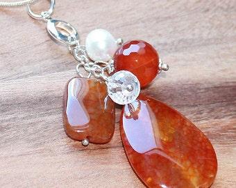 BOHO Semi Precious Orange Dragons Vein Agate Teardrop Pendant with pearl & crystal