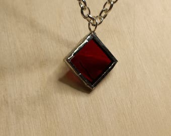 Ruby red stained glass square pendant