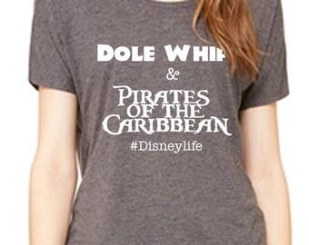 Disney Shirt Ladies Slouchy Tee Dole Whip and Pirates of the Caribbean Shirt Disneyland Shirt Disney World Shirt  Magic Kingdom Shirt
