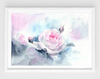 "Original flower watercolor,rose,blooming roses,original painting,7""x10"",mother's day,garden,home decor"