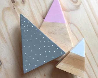 Spotted mountain set/Pink, Gray and White/Ready to ship