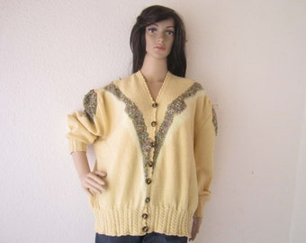 Vintage 80s hand knitted Cardigan Cardigan wool oversize