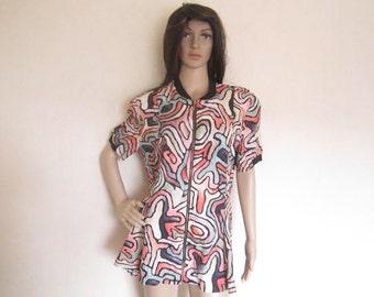 Vintage 80s blouse blouse op art pop art Etienne avant-garde oversize boho