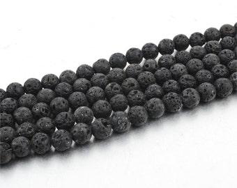 6mm Lava Beads 16 Inch Strand 63pc
