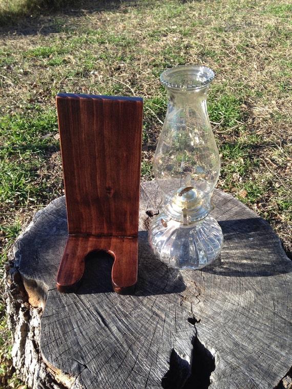 Wood oil lamp holder lamp included ready to go to new home for Wooden kerosene lamp holder