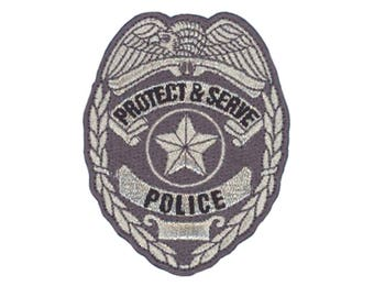 US Police Badge Iron On Applique, Police Badge Iron On Patch, USA Badge Patch, Kids Patch, Embroidered Patch (119061)