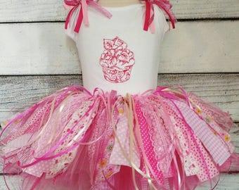 scrap tutu,rag tutu,personalized fabric scrap rag first birthday tutu set,cupcake tutu skirt,birthday fabric tutu,fabric scrap tutu skirt