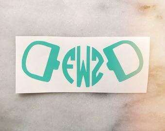 Horse Snaffle Bit Monogram Decal - Equestrian Sticker