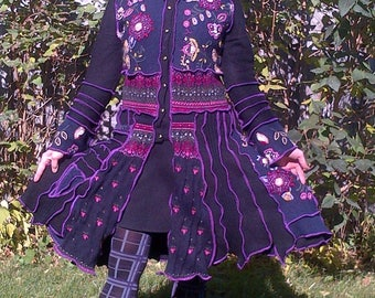Katwise Inspired, upcycled sweater coat, recycled, patchwork- Medium