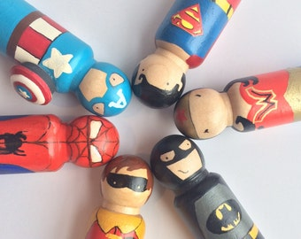 "3 1/2"" Superhero Peg doll set"
