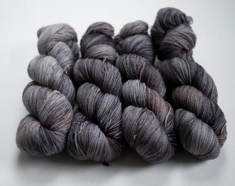 Canadian Hand-dyed yarn. 80/20 Superwash Merino/Nylon Sock Yarn. 115g 400yards. Fingering weight. Black Granite. Ready to Ship.