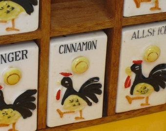 Vintage Ceramic Rooster Spice Rack, Spice Shakers, Containers, Kitchen Display, Vintage Kitchen, Kitchen Storage, Kitchen Accessory