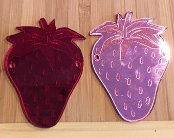 Wholesale customer laser cut mirror acrylic Strawberry pendants, 10 pieces