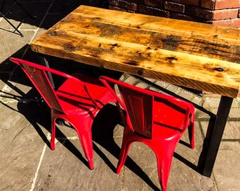 Industrial Chic Reclaimed Wood Hand Made Table. Cafe Bar Restaurant. Custom Made To Order.