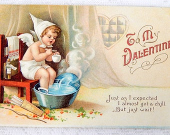 Postcard Antique Valentine Cupid with a Chill - 1911