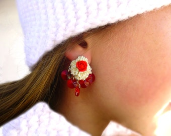 White and red earrings Rose jewelry Flowers earrings Rose earrings Flowers jewelry Cute earrings Delicate earrings