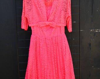 Vintage Hot Pink 2 Piece 40\'s Dress [0213]