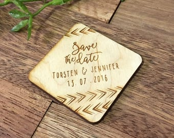 10+ Wooden Save the Date Magnets, Custom Engraved, Arrows, Boho Wedding