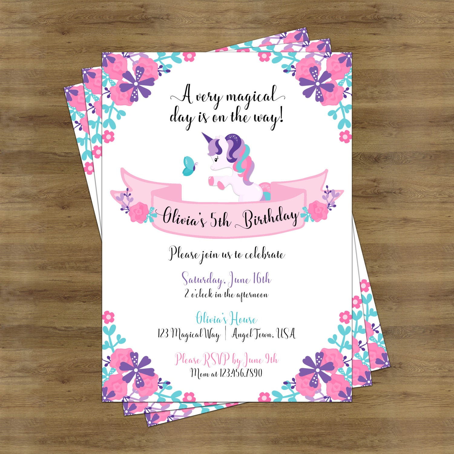 Unicorn Invitation Unicorn Birthday Invitation Unicorn – Unicorn Birthday Party Invitations