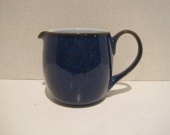 Denby Midnight Blue w Robins Blue Inside Creamer/Pitcher Fine Stoneware England Handcrafted