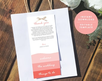 Coral Wedding Welcome Bag Note, Destination Wedding Welcome, Welcome letter, Template Kit, Instant Download, GD_WT129