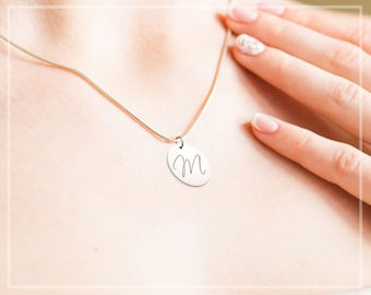 Initial Necklace, Monogram Disc Necklace, Name Jewelry, Personalized Initial Necklace