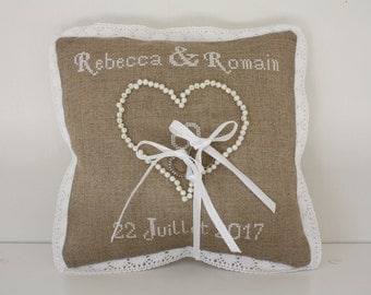 Embroidered alliances cushion hand lace and pearls