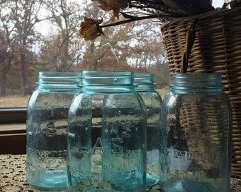 Vintage Blue Strong Shoulder Mason Jar Atlas Mason Jar Vintage Mason Jar Blue Jar canning jar