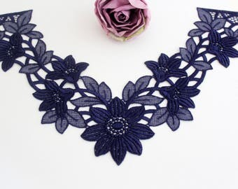 Swiss embroidery: Darkblue Lace Appliques Collar