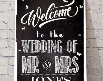 Welcome to our wedding A4 PRINT, personalised wedding decor greeting sign scandi black and white, chalkboard style