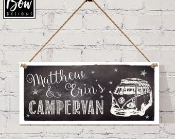 CAMPERVAN SIGN home from home, PERSONALISED , mono, black and white,motor home sign