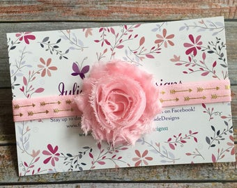 Light Pink Baby Headband/Baby Headband/Newborn Headband/Girls Headband/Pink and Gold/Baby Girl Headband/Toddler Headband/Birthday Headband