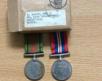 British World War 2 Medals, War Medal & Defence Medal