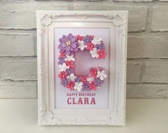 Unique baby girl gift, Happy 1st birthday, Happy first birthday gift, Personalised initial for her, Gift from Godmother, Floral monogram,