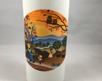 Vintage 1980s Reutter Porzellan W. Germany Colorful Countryside Sunset with Owls Oval Vase