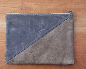 Leather and Waxed Canvas Zipper Pouch, Zipper Bag - Charcoal  / Brown Leather. Organization, Bridesmaid Gift, Unisex Gift. Storage