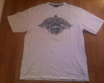 KARL KANI t-shirt, vintage shirt of 90s hip-hop clothing, 1990s hip hop, gangsta rap, white, sewn, old school, size L Large